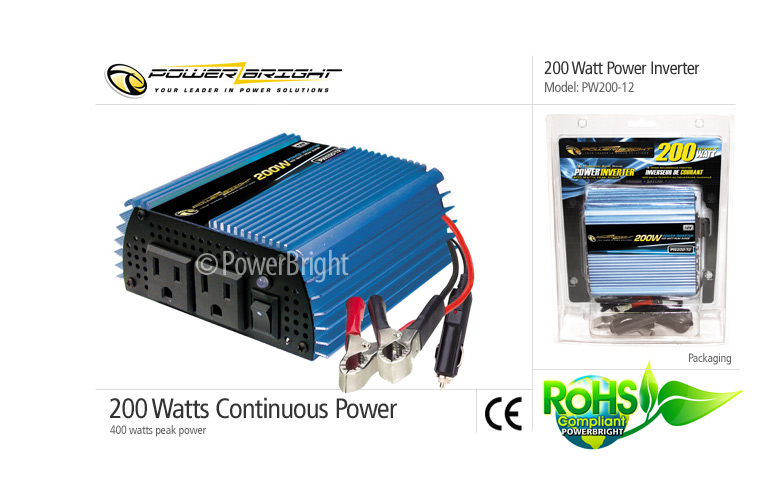 200 Watt Power Inverter 12 Vdc To 115 Vac Modified