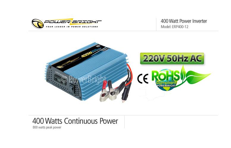 400 WATT POWER INVERTER - 12 VDC TO 220 VAC 50 Hz - MODIFIED SINE WAVE